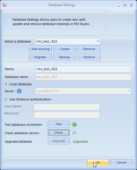 Database Settings v5.3 Upgraded